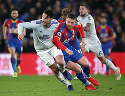 Cardiff City's Sean Morrison (left) and Crystal Palace's Connor Wickham battle for the ball, during the Premier League match at Selhurst Park, south east London.