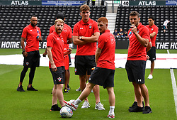 "Southampton's Josh Sims (left), Sam Gallagher, Harrison Reed (second right) and Sam McQueen (right) before a pre season friendly match at Pride Park, Derby. PRESS ASSOCIATION Photo. Picture date: Saturday July 21, 2018. Photo credit should read: Anthony Devlin/PA Wire. EDITORIAL USE ONLY No use with unauthorised audio, video, data, fixture lists, club/league logos or ""live"" services. Online in-match use limited to 75 images, no video emulation. No use in betting, games or single club/league/player publications."