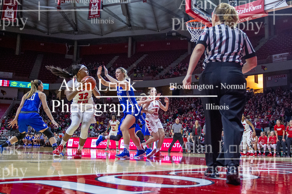 NORMAL, IL - December 20: Simone Goods defended by Amber Loindfors during a college women's basketball game between the ISU Redbirds and the St. Louis Billikens on December 20 2018 at Redbird Arena in Normal, IL. (Photo by Alan Look)