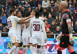 March 18, 2018 - Crotone, KR, Italy - Payers of Roma celebrate the opening goal during the serie A match between FC Crotone and AS Roma at Stadio Comunale Ezio Scida on March 18, 2018 in Crotone, Italy. (Credit Image: © Gabriele Maricchiolo/NurPhoto via ZUMA Press)