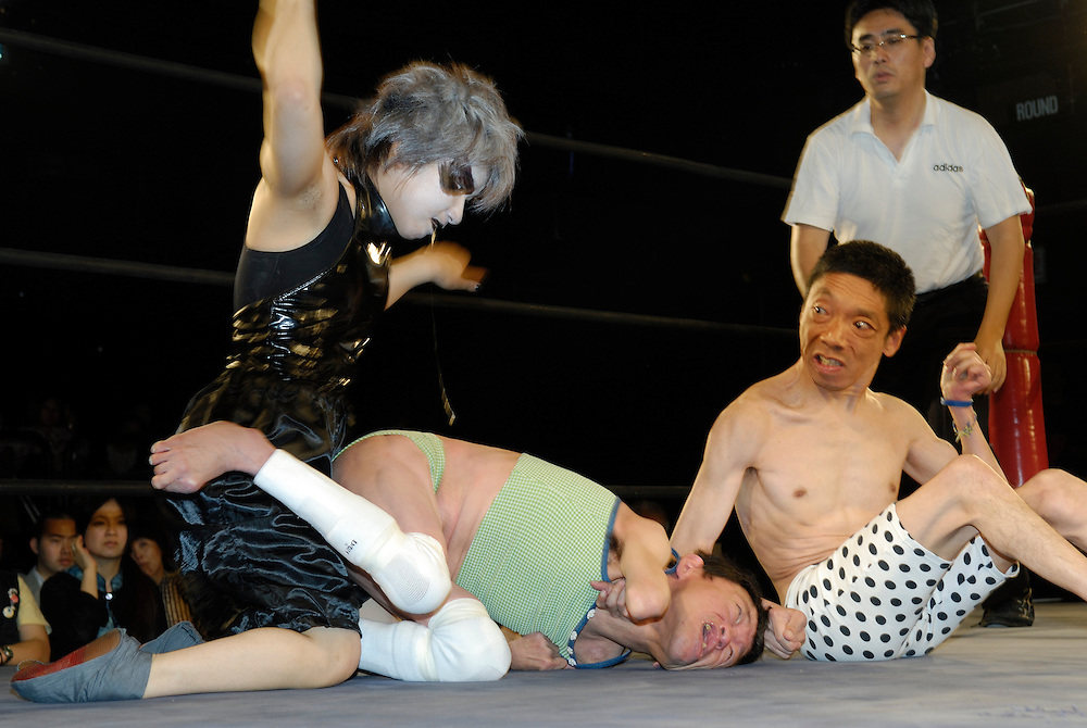 """Wrestlers (left to right) """"Orochi"""" """"L'amant"""" and """"E.T"""". All three suffer from cerebral palsy. Only attacks to their afflicted areas are disallowed."""