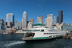 United States, Washington, Seattle, ferry and downtown skyline, in Elliott Bay