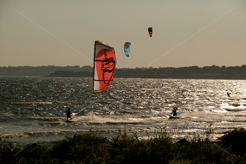Kiteboaders enjoy a perfect day on Sachuest (second) beach in Middletown, RI