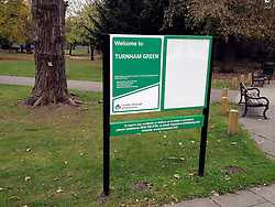 "© Licensed to London News Pictures. 29/10/2011. London, UK.  An incorrect sign on Acton Green bearing the name Turnham Green. Residents in Chiswick, West London, were surprised to find their locals parks had changed names overnight. Council workers have erected new signposts in the wrong parks which are half a mile apart. Turnham Green and Acton Green now both have signs naming them as Turnham Green. The signs have caused much local amusement. One local Hounslow councillor described the mixup as ""embarrassing"". Photo: Stephen Simpson/LNP"
