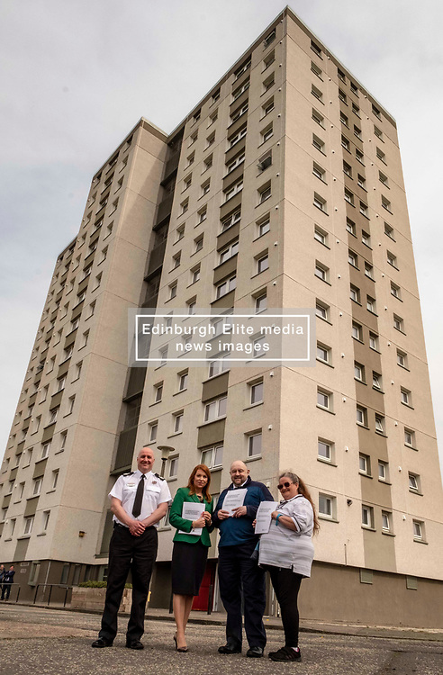 EMBARGOED UNTIL 00:01 24 April 2019<br />Pictured: Ross Haggart, Assistant Chief Fire Officer, Ash Denham, Mark McHale, Building manager Wauchope House and Agnes Moiers, resident neighbouring Greendykes House<br /><br />Today, Community Safety minister Ash Denham launched the Scottish Government's consultation on Strengthening Fire Safety for High Rise Domestic Buildings following the Grenfell Tower fire in London.  Ms Denholm was joined by Assistant Chief Fire Officer Ross Haggart and Mark McHale, building manager of Wauchope House, <br /><br /><br />Ger Harley | EEm 23 April 2019