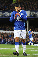 Aaron Lennon of Everton reacts to missing a chance to score. The Emirates FA cup, 3rd round match, Everton v Dagenham & Redbridge at Goodison Park in Liverpool on Saturday 9th January 2016.<br /> pic by Chris Stading, Andrew Orchard sports photography.