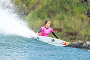 Carissa Moore of Hawaii advances directly to Round Three of the 2017 Maui Women's Pro after winning Heat 2 of Round One at Honolua Bay, Maui, Hawaii, USA.