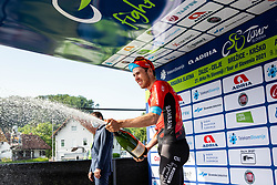 Winner Phil BAUHAUS of BAHRAIN VICTORIOUS celebrates at trophy ceremony after the 1st Stage of 27th Tour of Slovenia 2021 cycling race between Ptuj and Rogaska Slatina (151,5 km), on June 9, 2021 in Slovenia. Photo by Vid Ponikvar / Sportida