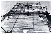 "Biplane on first aircraft carrier ""Ely'."