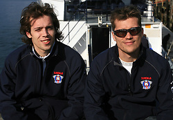 David and his brother Marcel Rodman infront of whale watching boat, during IIHF WC 2008 in Halifax,  on May 07, 2008, sea at Halifax, Nova Scotia, Canada. (Photo by Vid Ponikvar / Sportal Images)