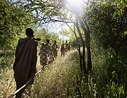 Women going to collect tubers, a staple food of the Hadza. At the Hadza camp of Dedauko.