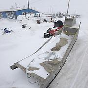 A snowy day on the streets of Kaktovik, Alaska.
