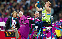 Henrik Plank of Slovenia competes in the Men's Shot Put - F52 Final during Day 3 of the Summer Paralympic Games London 2012 on August 31, 2012, in Olympic stadium, London, Great Britain. (Photo by Vid Ponikvar / Sportida.com)