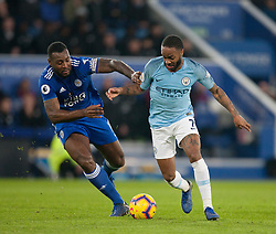 Wes Morgan of Leicester City (L) and Raheem Sterling of Manchester City in action - Mandatory by-line: Jack Phillips/JMP - 26/12/2018 - FOOTBALL - King Power Stadium - Leicester, England - Leicester City v Manchester City - English Premier League