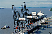 Alaska. Anchorage. Container ship at port on Cook Inlet.