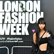 Claire Wang @clairexw attend London Fashion Week SS19 street photography at the Strand, London, UK. 17 September 2018.