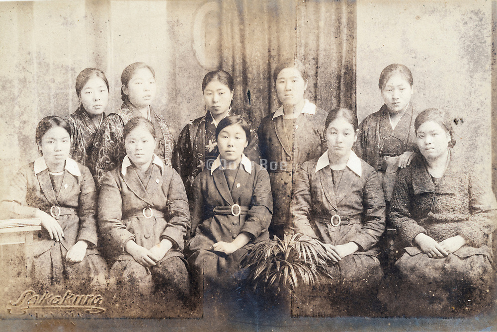 deteriorating school girls only group portait Japan ca 1930s