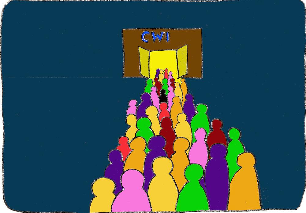 Driebergen, 16  febr  2009.illustratie, tekening met computer inkleuring met de kredietcrisis als thema..ontslagen mensen op weg naar het arbeidsbureau.. Foto: (c) Renee Teunis