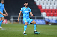 Cheltenham Town Defender Sean Long(2) shoots at goal misses the target and looks frustrated, looks dejected during the EFL Sky Bet League 2 match between Stevenage and Cheltenham Town at the Lamex Stadium, Stevenage, England on 20 April 2021.