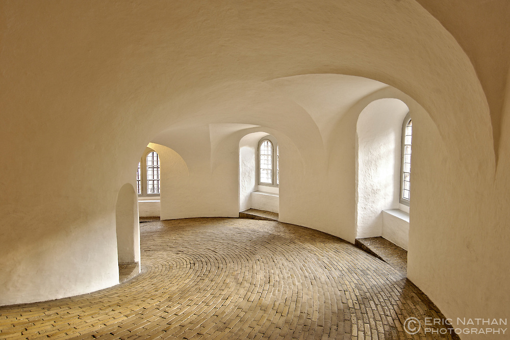 The interior of the Round Tower in Copenhagen Denmark. The tower has no staircase but rather a paved, spiral walkway.
