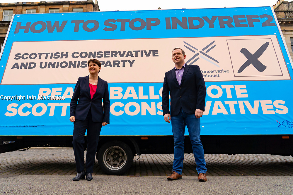Edinburgh, Scotland, UK. 3  May 2021.  The Scottish Conservative party launch new campaign billboard ad van in Edinburgh today. Scottish Conservatives Leader Douglas Ross and former leader Ruth Davidson launched the ad van with a message urging voters to vote Scottish Conservatives on the list or peach ballot paper. Pic;  Iain Masterton/Alamy Live News