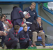 Reading, Berkshire, 10th May 2003,  [Mandatory Credit; Peter Spurrier/Intersport Images], Zurich Premiership Rugby, The Bristol Shoguns bench coach, Peter Thorburn, [right] holds his hand to his face, after another Exiles score,
