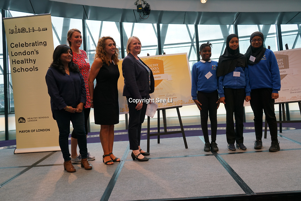 """City Hall, London, Uk, 29th June 2017. Kingsgate Primary School, Carlton, Rhyl Primary School """"Gold Awards"""" of the City Hall awards at the Health and education experts celebrate London's healthiest schools."""