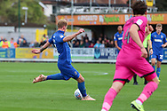 AFC Wimbledon midfielder Mitchell (Mitch) Pinnock (11) scoring goal to make it 3-0 during the EFL Sky Bet League 1 match between AFC Wimbledon and Rochdale at the Cherry Red Records Stadium, Kingston, England on 5 October 2019.