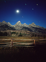Grand Tetons:  Moonlit Night...Composite Image made from 2 exposures