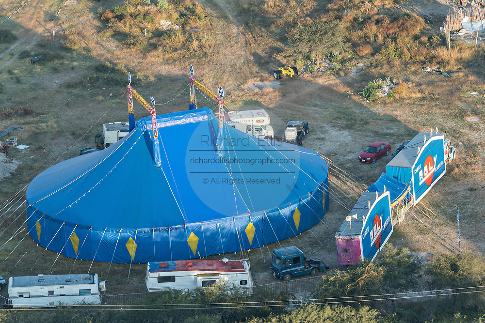 A big top circus tent set up in a field outside the colonial city of San Miguel de Allende, Mexico.