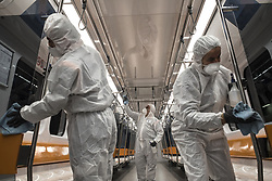 Employees of the Istanbul Metropolitan Municipality disinfects a subway car to prevent the spread of the novel coronavirus COVID-19 in Istanbul, Turkey, 14 March 2020. Turkish Health Minister Fahrettin Koca was announced the 6th coronavirus COVID-19 case in Turkey. Photo by Saner Sen/NARphotos/ABACAPRESS.COM