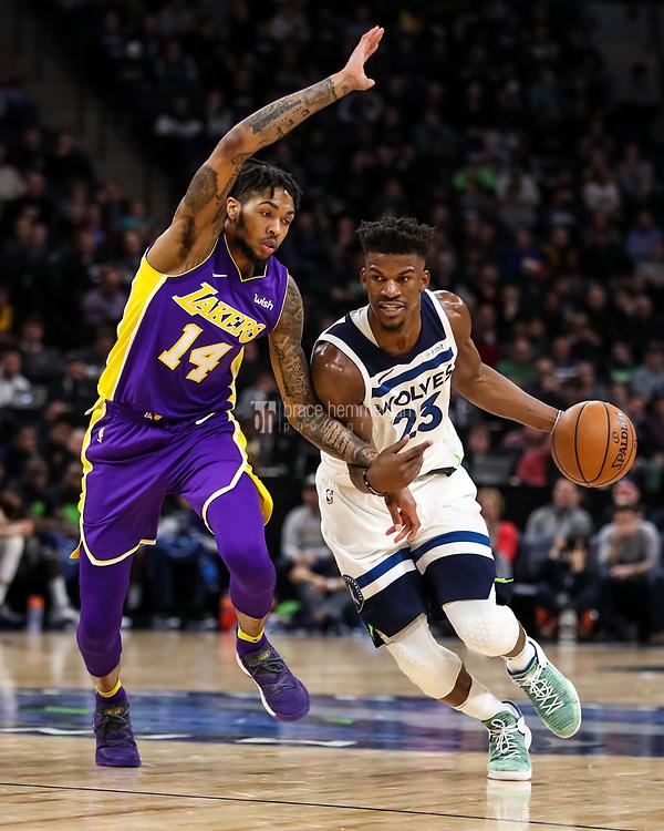 Feb 15, 2018; Minneapolis, MN, USA; Minnesota Timberwolves guard Jimmy Butler (23) and Los Angeles Lakers forward Brandon Ingram (14) at Target Center. Mandatory Credit: Brace Hemmelgarn-USA TODAY Sports