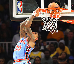 February 12, 2019 - Atlanta, GA, USA - Atlanta Hawks forward John Collins attempts a reverse dunk against the Los Angeles Lakers during the second half on Tuesday, Feb. 12, 2019 in Atlanta, Ga. (Credit Image: © Curtis Compton/Atlanta Journal-Constitution/TNS via ZUMA Wire)