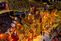 Floats in the Carnaval parade of GRES Sao Clemente samba school in the Sambadrome, Rio de Janeiro, Brazil.