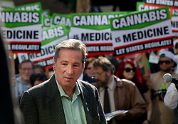 Nov. 9, 2011 - Sacramento, California, USA - California Assembly member Tom Ammiano (D)13th District, speaks to demonstrators in front of the Federal courthouse in downtown Sacramento on Wednesday, November 9, 2011. Ammiano spoke in support of the to the demonstrator's efforts.  Medical marijuana advocates from across California rally at Sacramento federal courthouse today (Wed 11/ 9) to protest federal government crackdown on medical marijuana dispensaries and landlords. The rally is the public campaign that goes with a legal strategy that includes five lawsuits against Attorney General Eric Holder and California U.S. attorney and the U.S. Justice Department. The short-term strategy is to stave off property seizures of landlords leasing to marijuana outlets and dissuade prosecutions. The long-term strategy is to force a settlement to resolve how the federal governments looks at medical marijuana in California. (Credit Image: © Randall Benton/Sacramento Bee/ZUMAPRESS.com)