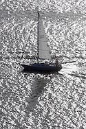 Cortlandt Manor, NY - A  sailboat on the Hudson River south of the Bear Mountain Bridge on Nov. 2, 2008.