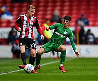 Sheffield United's Mark Duffy under pressure from Preston North End's Josh Harrop<br /> <br /> Photographer Chris Vaughan/CameraSport<br /> <br /> The EFL Sky Bet Championship - Sheffield United v Preston North End - Saturday 28th April 2018 - Bramall Lane - Sheffield<br /> <br /> World Copyright © 2018 CameraSport. All rights reserved. 43 Linden Ave. Countesthorpe. Leicester. England. LE8 5PG - Tel: +44 (0) 116 277 4147 - admin@camerasport.com - www.camerasport.com