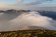 Highest peak in Rila Mountains at sunrise in summer time