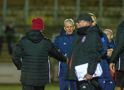 Forfar Athletic's manager Jim Weir at the end. Forfar Athletic 2 v 3 Arbroath, Scottish Football League Division One played 8/12/2018 at Forfar Athletic's home ground, Station Park, Forfar.