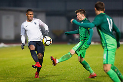 Kelvin Amian Adou of France and Martin Kramaric of Slovenia during football match between Slovenia and France in Qualifying round for European Under-21 Championship 2019, on November 13, 2017 in Sportni park, Domzale, Slovenia.  Photo by Ziga Zupan / Sportida