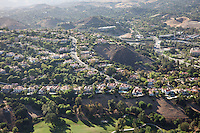 Aerial view of the neat suburb of Calabasas, Los Angeles, California