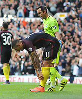 Football - 2016 / 2017 Premier League - Tottenham Hotspur vs Manchester City<br /> <br /> Aleksandar Kolarov of Manchester City shows his dejection after putting the ball into his own net for Tottenham's first goal at White Hart Lane<br /> <br /> Credit : Colorsport / Andrew Cowie