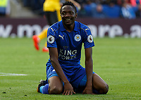 Football - 2016/2017 Premier League - Leicester Ciity V Arsenal. <br /> <br /> Ahmed Musa of Leicester City cannot believe Leicester have denied a penalty after he was tackled in the area at The King Power Stadium.<br /> <br /> COLORSPORT/DANIEL BEARHAM