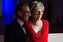 © Licensed to London News Pictures. 14/12/2016. PHILIP MAY and British Prime Minister THERESA MAY attend The Sun newspaper Millies Military Awards 2016 at Guildhall, London, UK. Photo credit: Ray Tang/LNP