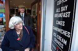 © Licensed to London News Pictures. 08/11/2019. Blackwood Monmouthshire, Wales, UK. General Election 2019; ANNE WIDDECOMBE, and NIGEL FARAGE, leader of the Brexit Party, visiting Woodies cafe in Blackwood market place as part of his nationwide General Election campaign tour. Photo credit: Simon Chapman/LNP.