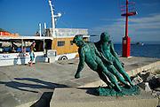 Statue of fishermen pulling nets, village of Bol, island of Brac, Croatia