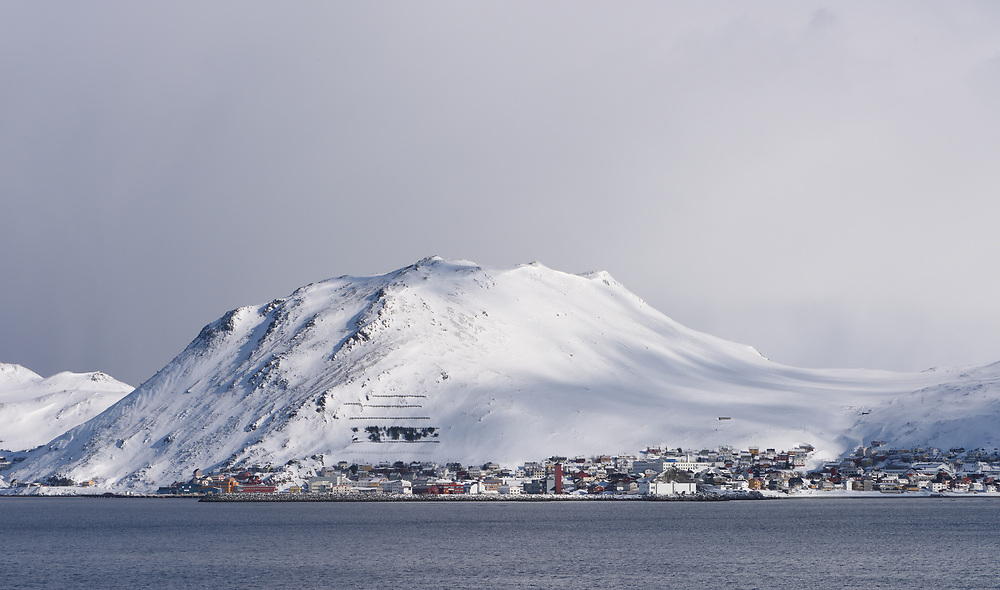 The harbour at Honningsvag, the northernmost city in Norway. Honningsvåg, Nordkapp, Finnmark, Norway.