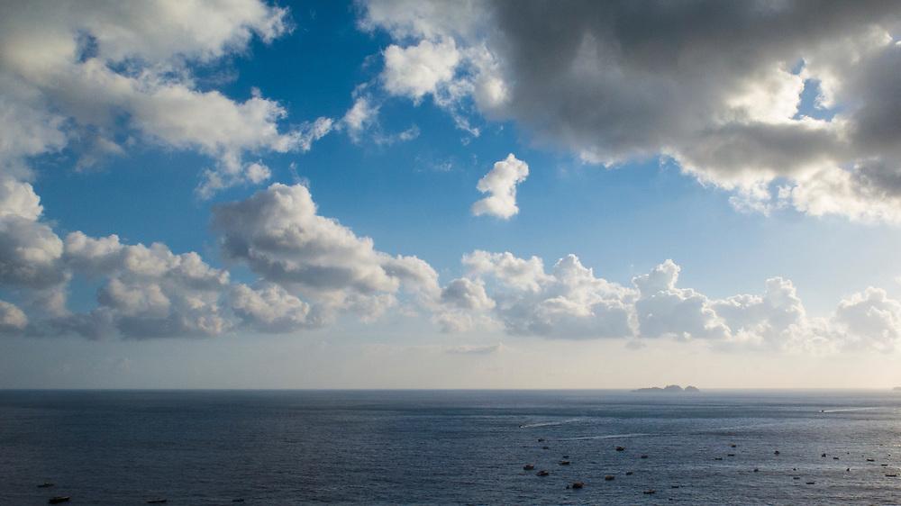 View of the Tyrrhenian sea from Positano, Amalfi Coast, Italy