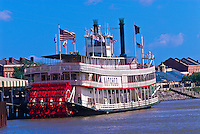 Riverboat Natchez docked along the Riverwalk, French Quarter, New Orleans, Louisiana, USA