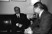 GEN Adolf Heusinger, Federal Republic of Germany, Chairman, North Atlantic Treaty Organization (NATO) Military Committee, meets with Secretary of Defense Robert S. McNamara, right, at the Pentagon to discuss defense matters relating to NATO. Washington D.C.(USA) Date 28 February 1964
